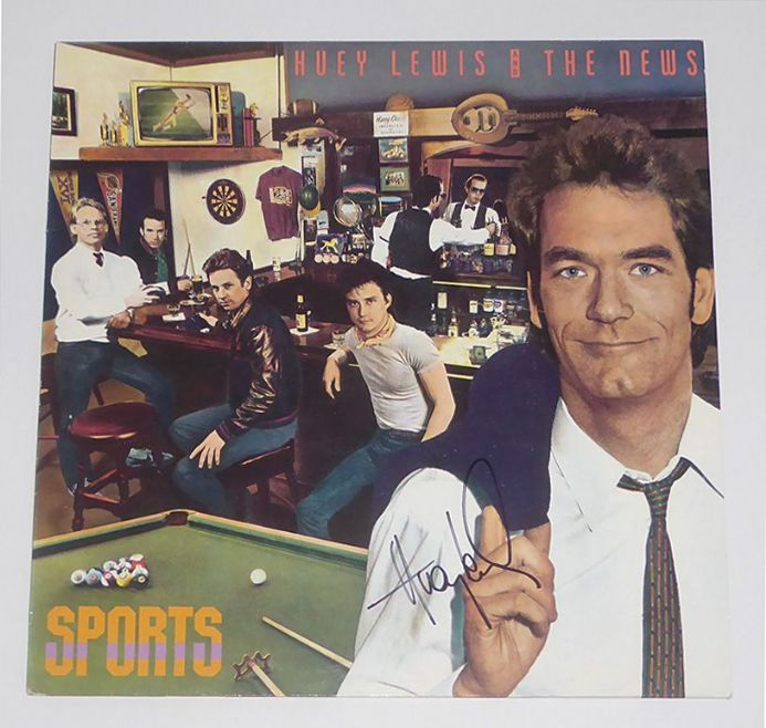 Huey Lewis signed Sports vinyl LP record.